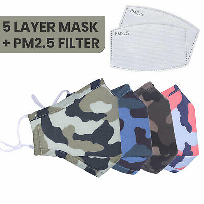 £3.29 • Buy Face Mask Reusable Washable Five Layer With PM2.5 Filter Kids Ladies/Men Adult