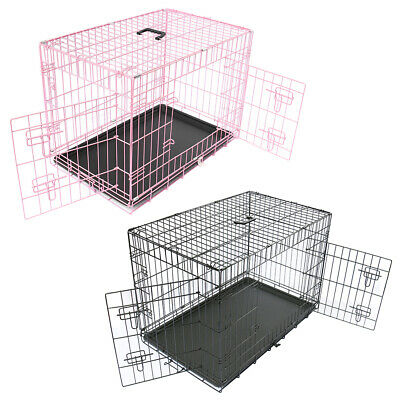 £22.90 • Buy Dog Cage Puppy Pet Metal Training Crate Carrier Black Pink X-Small Small Medium