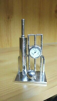 £49.95 • Buy Silver Plated Clock/Watch Mounted To Bat, Ball And Stumps