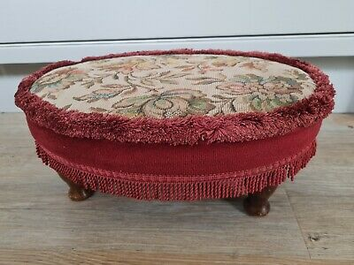 £31.99 • Buy Vintage Sherborne Upholstery Footstool/pouffe Queen Anne Style Legs Tapestry Red