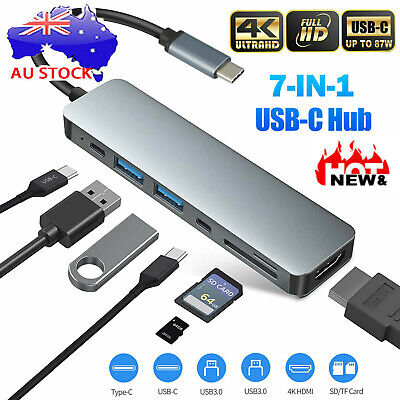 AU24.96 • Buy 7 In 1 Multiport USB-C Hub Type C To USB 3.0 4K HDMI Adapter For Macbook Pro/Air