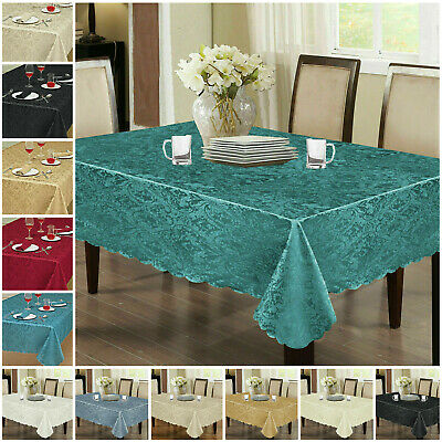 £9.39 • Buy New Jacquard Damask Floral Table Cloth Cover Round Rectangle Party Table Runner