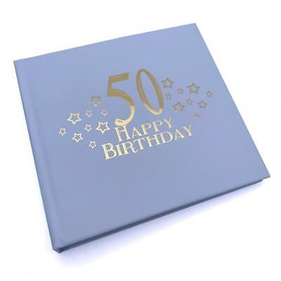 £13.99 • Buy 50th Birthday Blue Photo Album Gift With Gold Script