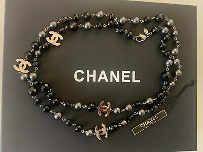 £1400 • Buy AUTHENTIC Chanel Black And Grey CC Pearl Necklace