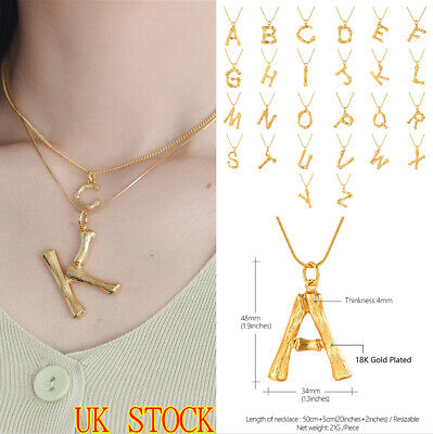 £4.29 • Buy Initial A-Z Alphabet Necklace Gold Letter Big Womens Plated Chain Rock Pendant