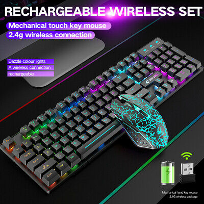 AU48.99 • Buy Wireless Rechargeable Gaming Keyboard Mouse And Pad Combo RGB LED Backlit AU