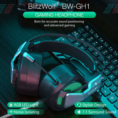 AU27.29 • Buy BlitzWolf BW-GH1 Gaming Headset Mic 7.1 Surround Stereo Wired Headphone Laptop