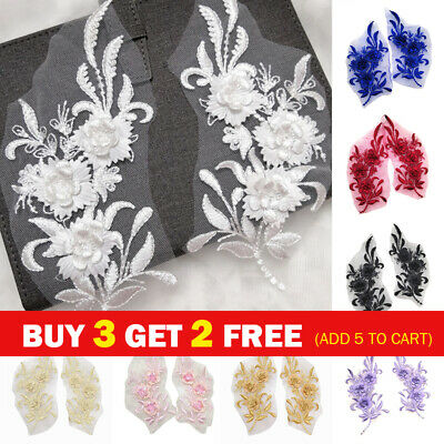 £4.39 • Buy 1 Pair Embroidery Lace Flowers Bridal Applique Pearl Tulle Wedding Dress Crafts