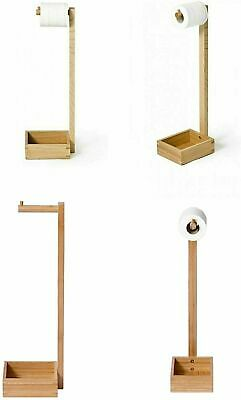 AU33.76 • Buy Free Standing Bamboo Wooden Toilet Paper Roll Holder Tissue Storage Stand Large