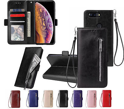 AU12.90 • Buy Oneplus 5T Pu Leather Wallet Case With Card Front Zip Side Magnet Closure