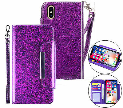 AU11.45 • Buy Iphone X Xs (5.8 ) Luxury Glitter Wallet Case Id Wide Magnetic Closure