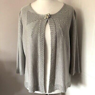 £12.99 • Buy Per Una Made In Italy Grey Taupe Cardigan Shrug Size L Large Button 3/4 Sleeves
