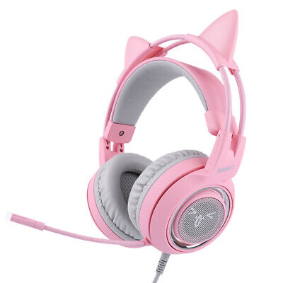 AU59.95 • Buy Gaming Headset With Mic Girls Women Cat Ear Headphone For SOMIC G951S Pink