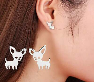 £4.75 • Buy Cute Silver Tone Dog Earrings, Small Dog Chihuahua Puppy Jewellery Studs Gift