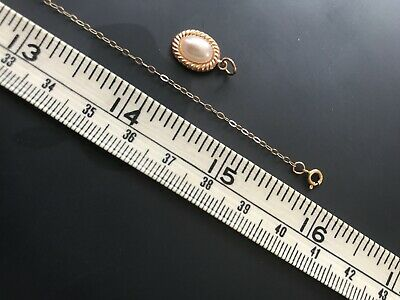 £29.99 • Buy 9CT YELLOW GOLD Fine Trace16  CHAIN With Pearl PENDANT Vgc