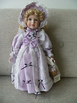 £10 • Buy Regency Fine Arts Lavender & Lace Pretty Porcelain Doll With Tags In Wrapper