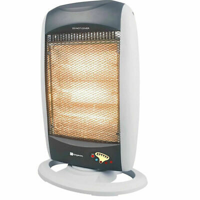 £48.99 • Buy 1200W Oscillating Halogen Heater With Remote Control Electric White Portable New