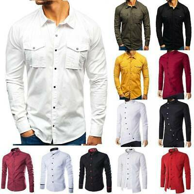 £9.49 • Buy Mens Button Up Long Sleeve Lapel T Shirt Tunic Casual Formal Blouse Shirts Tops