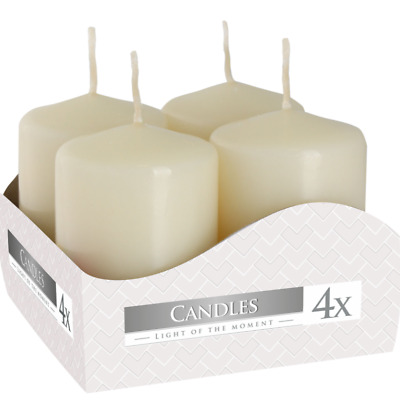 £7.95 • Buy Set Of 4 Pillar Candles Ivory Church Candles High Quality Real Wax Candle Set