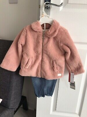£16.99 • Buy Baby Girl Pink Faux Fur Coat Jacket 12-18 Months Jeans Top Set 7 For All Mankind