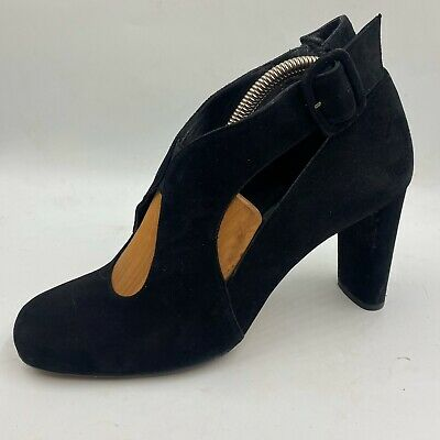 £65 • Buy 🌟Audley Retro Style Size 6 39 Black Suede Cut Out Mary Jane Shoes Pumps Womens