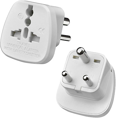 AU16.94 • Buy TEC UK - 2 X UK To India Travel Adapter, 3 Pin Prong Plugs For Visitor From UK,