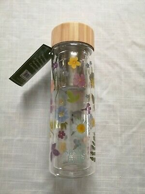 £15.49 • Buy Sass And Belle Pressed Flowers Glass Water Bottle With Infuser