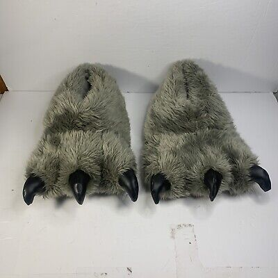 £11.72 • Buy Men's Fuzzy Gray Monster Beast Claw Feet House Shoes Slippers - Size 11 - 12
