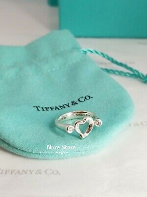 £232.35 • Buy Tiffany And Co Diamond Ring Paloma Picasso Heart Double Natural Gemstone 925