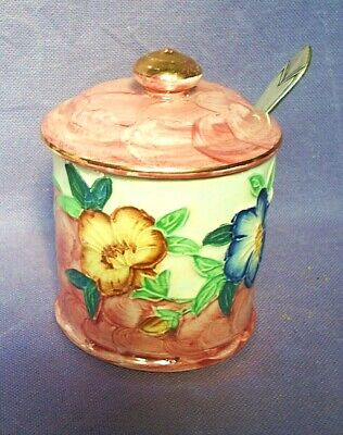 £8 • Buy VINTAGE MALING NEWCASTLE PINK FLORAL LUSTRE WARE PRESERVE POT With Spoon