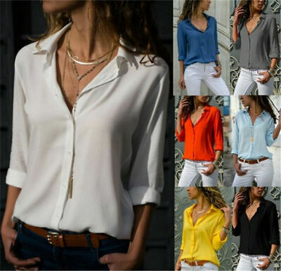 £7.39 • Buy Womens Chiffon V Neck Tops Ladies Long Sleeve Buttons T Shirt Blouse Plus Size