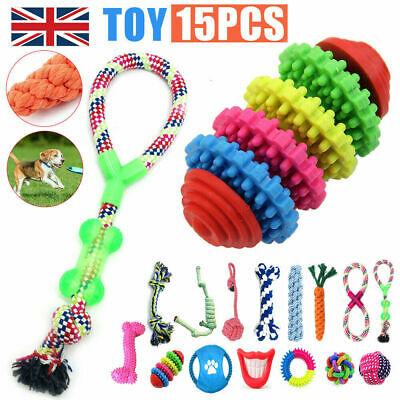 £12.58 • Buy 15x Pet Dog Chew Toys Braided Rope Indestructible Dog Teeth Dental Cleaner Gifts