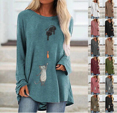£10.30 • Buy Womens Long Sleeve T-Shirt Casual Ladies Winter Tops Pullover Blouse Plus Size
