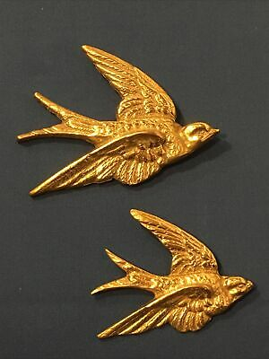 £29.99 • Buy Pair Of 2 Vintage Brass Wall Hanging Flying Swallows 1950s Mid-century Swift Art