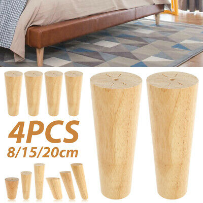 £8.99 • Buy 4x Wooden Furniture Square Tapered Feet Legs For Bed Stools Sofa Chair 8/15/20cm