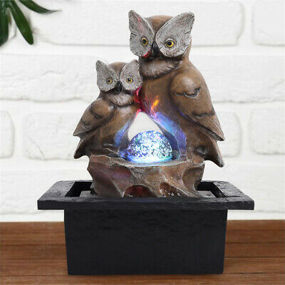 £21.95 • Buy Owl Water Feature Fountain Cascading LED Ball Electric Statue Garden Home Decor