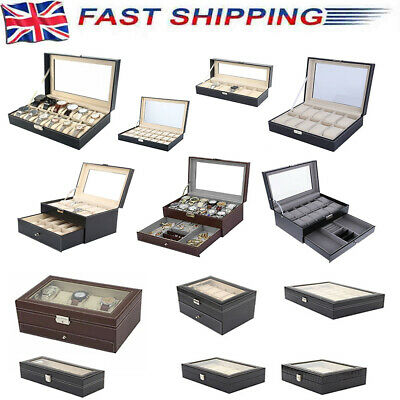 £8.97 • Buy 6-24 Grids PU Leather Watch Display Case Collection Storage Holder Portable Box