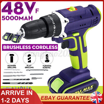 View Details 48V Electric Cordless Hammer Impact Power Drill Screwdriver + 2Batteries+Charger • 36.73£
