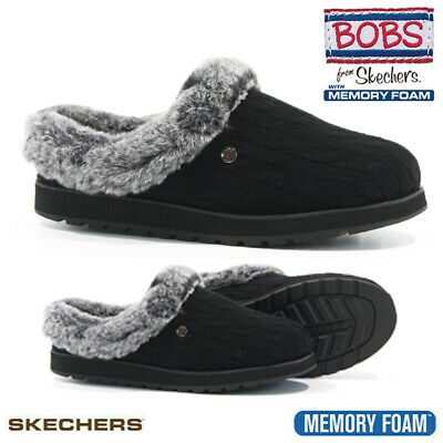£34.95 • Buy Ladies Skechers Slippers Cushioned Cozy Memory Foam Fur Mules Shoes Clogs Size
