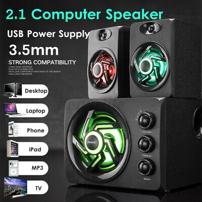 £27.99 • Buy Surround Sound System USB Wired For Desktop Computer LED PC Speakers Gaming Bass