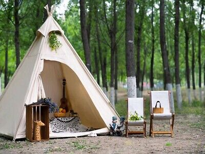 AU249.99 • Buy AU Ship Outdoor Canvas Pyramid Tent Camping Teepee Tent Pagoda Tent For 2 Person