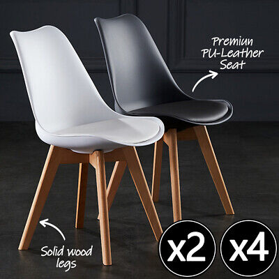 AU85 • Buy 2/4 X Retro Replica PU Padded Beech Dining Chairs Cafe Kitchen Chair