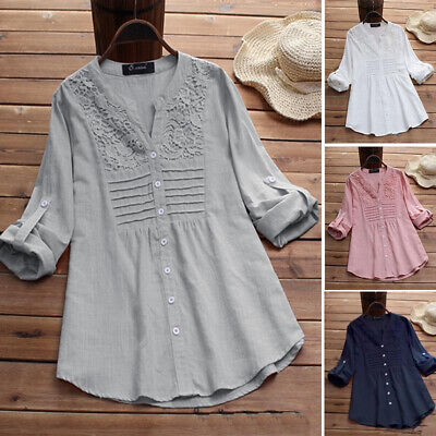 £12.69 • Buy Womens Fashion Pleated Long Sleeve Shirts Ladies Casual Loose Button Tops Blouse