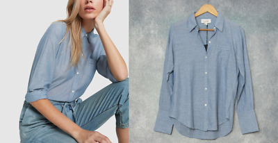£123.63 • Buy NWT Nili Lotan $245 Cotton Voile NL Shirt In Blue Chambray; S
