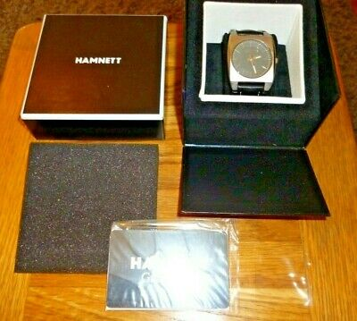 £19.99 • Buy Men's Hamnett Stainless Steel With Leather Strap Quartz Watch New In Case Xmas