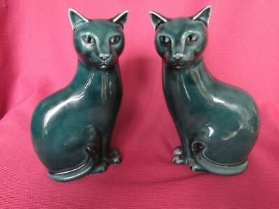 £20 • Buy POOLE POTTERY PAIR VINTAGE BLUE CATS 16.5cm Tall ORNAMENTS FIGURES PERFECT