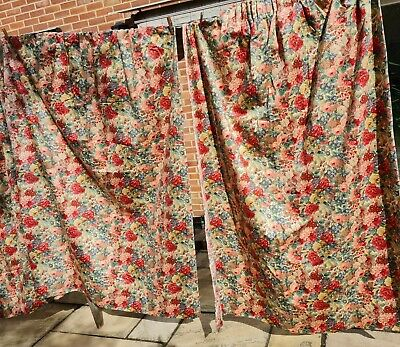 £124 • Buy Sanderson Rose And Peony Lined Curtains Vintage Pink Red Pair Long 68 L X 51 W