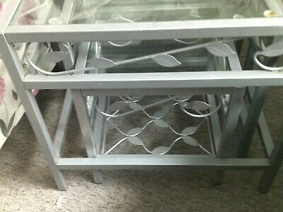 £4 • Buy Metal And Glass Nest Of Tables