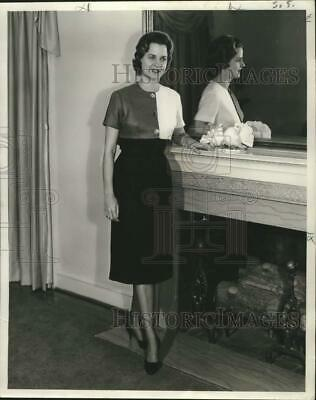 £10.16 • Buy 1959 Press Photo Miss Joan Steib Models A Dress, Posed Next To A Fireplace