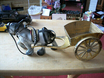 £2.99 • Buy Porcelain Shire Horse & Brass Cast Cart Very Good Condition